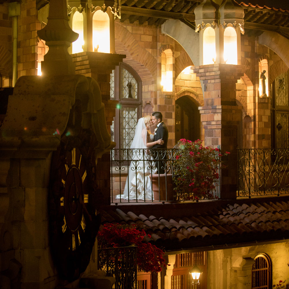 This real wedding montage includes bride and groom kissing on old world balcony setting