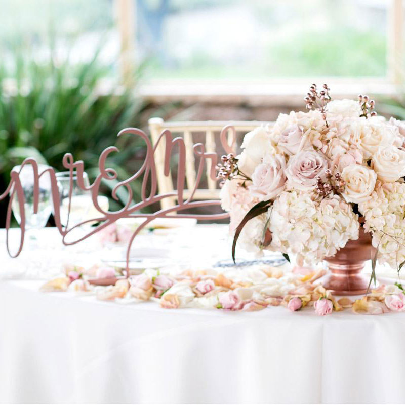 This real wedding montage includes close up of decor on sweetheart table